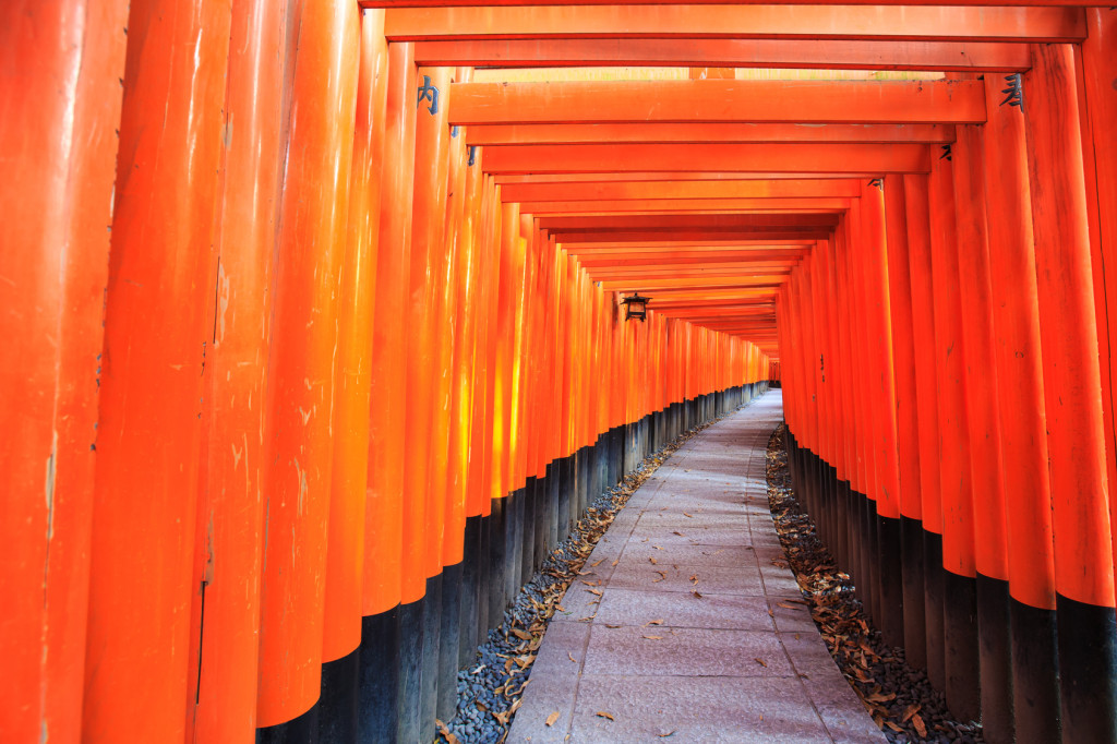 Gates at Fushimi Inari Shrine in Kyoto, Japan.