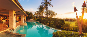 Beautiful Luxury Home with Swimming Pool at Sunset